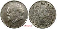 Austria SILVER 1928 2 Schilling Death of Franz Schubert 1 year type KM# 2843