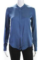 Vince Womens Long Sleeve Crew Neck Button Down Silk Blouse Top Blue Size 0