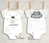 x10 Baby Shower Prediction Words of Wisdom Game Cards Mum Boy Girl Unisex C1
