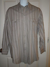 Vintage H Bar C Light Brown Stripe Shirt 16.5  33 Pearl Snaps Cowboy Western