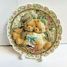 Very Rare Cherished Teddies 482064B Wedding Bride Groom Plaque Easel Stand Nib 9