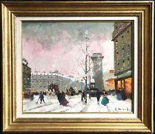 Henri Schaeffer (1900-1975) signé impressionniste français huile PARIS Hiver Neige