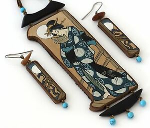 Wood Leather Turquoise Necklace Earrings Set Japanese-Style GEISHA Hand Painted