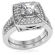 Diamond White Gold Plated Round Costume Rings