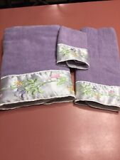 Bath Towel Set Purple Wash Cloth/Hand Towel/Bathtowel Embroidered Sateen Trim