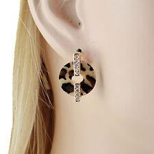 Circle Leopard Print Clear Austrian Crystal Rhinestone Studs Earrings E162