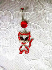 NEW SPARKLING RED CRYSTAL KITTY CAT CHARM on 14g RED CZ NAVEL BARBELL BELLY RING