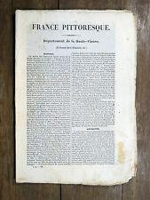 HUGO France Pittoresque  HAUTE-VIENNE 1835 Avec carte & 5 gravures LIMOUSIN