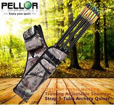 Pellor Bow Bag Arrow Holder 3-Tube Archery Quiver Adjustable Shoulder Strap Bags