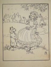 Original CLEM (Cecily Le Mesurier) Cartoon c1920s - Children, Guy Fawkes' Night