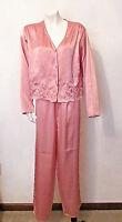 VTG VS Victoria's Secret Gold Label Pink Satin Pajama Lounge Wear Sleep Wear M