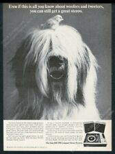 1968 Old English Sheepdog photo Sony Hp-550 stereo system vintage print ad