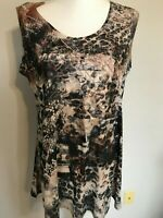 New Direction Womens Top Blouse Animal Print Size L Brown NWT