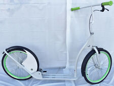 "Adult Kick Scooter Kick Bike 20"" Wheels White with Green"
