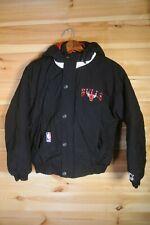 Vtg Starter Chicago Bulls Black Puffer Bomber Jacket Medium Youth