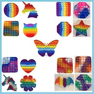 Rainbow Push Pop Fidget Toy It Bubble Special Needs Silent Sensory Autism