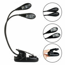 2 Dual  Flexible Arm Clip-on 4 LED Lamp for Piano Music Stand Book Reading Light