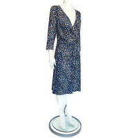 ANN TAYLOR Beautiful Marbled Blue Draped Front Jersey Rayon Dress sz Large /8579
