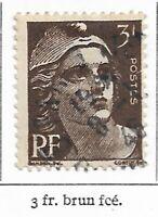 Timbre France Marianne de Gandon 1945-47  Typographiés - N° 715 - 3 fr brun F