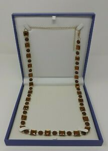 JOB LOT OF 6 - NEW GIFT BOXED QUALITY BROWN FACETED CRYSTAL LONG NECKLACES