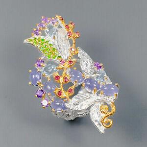 Tanzanite Rhodolite Ring Amethyst Silver 925 Sterling Unique Jewelry Size 8.5