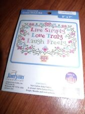"""Janlynn LIVE SIMPLY Live Love Laugh Counted Cross Stitch Kit 8"""" x 7"""""""