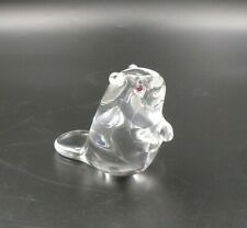 """STEUBEN Glass Beaver figurine, upright, with red Garnet eyes, 4"""", immaculate"""