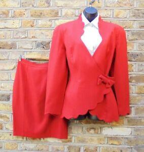 Thierry Mugler Activ Women Red Two Piece Floral Cut Skirt & Blazer Suit SZ UK 14