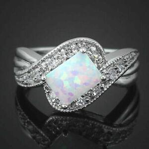 925 Silber Filled Art Deco Design Weiße Feuer Opal Stil Ring Größe T 1/2