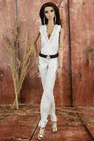 ELENPRIV ivory sleeveless silk jumpsuit w/belt for Fashion Royalty FR2 dolls