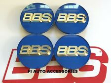 """NEW"" REAL BBS 70mm BLUE GOLD 3D LOGO 3 TAB CENTER CAPS 56.24.206 or 56.24.073"