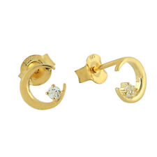 925 Silver With Gold Plated Prong Set Topaz Crescent Moon Stud Earrings Jewlery