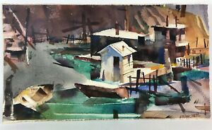 Frank Webb Original Watercolor Painting Signed Abstracted