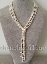 2 Stränge Mini 4-5mm weiß Barock Süßwasser Perle lange Halskette 115cm