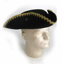 Black Tricorne Hat 18th Century Soldier Revolutionary War Patriot Adult Costume