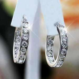 Fashion 925 Silver Zircon Crystal Bow Earrings Stud Wedding Women Jewelry Gift