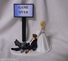 Wedding Party Beer Cans Game Over Sign Laptop Computer Drunk Geek Cake Topper