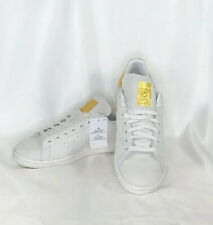 """Stan Smith Originals Adidas Men's Shoes US Sz.10 White With Gold Trimming """"Rare"""""""
