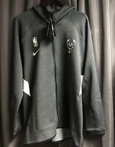 Nike Milwaukee Bucks Therma Flex Showtime Full-Zip Hoodie Gray Tech AV0818 XL
