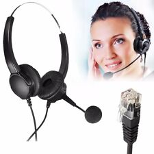 RJ11 Call Center Headset Telephone Corded Wired Microphone Office Head Phone New