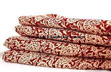 5 Yard Hand Print Maroon Indian Paisley Design Natural Fabric Dress Material