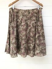 WITCHERY Brown Flared Boho Cotton Skirt With Beading And Sequins - Size 12