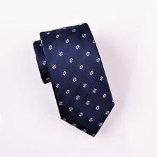 "Navy Blue Herringbone Twill 3"" Skinny Woven Tie Electric Style Symbolic Emblem"