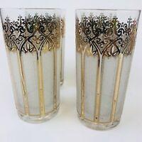 4  Gold Highball  Glasses  Signed  Mid Century Modern