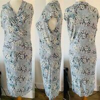 Per Una Multicoloured Pastel Floral Faux Wrap Midi Dress Ruched Stretchy Size 16