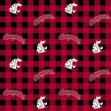 NCAA Washington State Univ. Buffalo Plaid WAST-1207 Cotton Fabric by the Yard