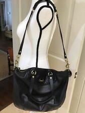 Beautiful COACH ASHLEY 23684 Black Leather Python Accents Tote Handbag