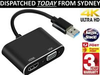 USB 3.0 to HDMI + VGA 4K & FHD 1080p Video Adapter Cable Converter for PC Laptop