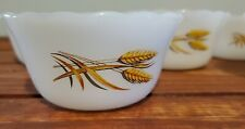 Vintage Set of 5 FIRE KING 6 oz Round Ramekin Custard Cup Wheat Pattern #424 USA