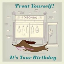 "Retro Vintage Dachshund Sausage Dog ""Happy Birthday"" card 12.5x12.5cm"